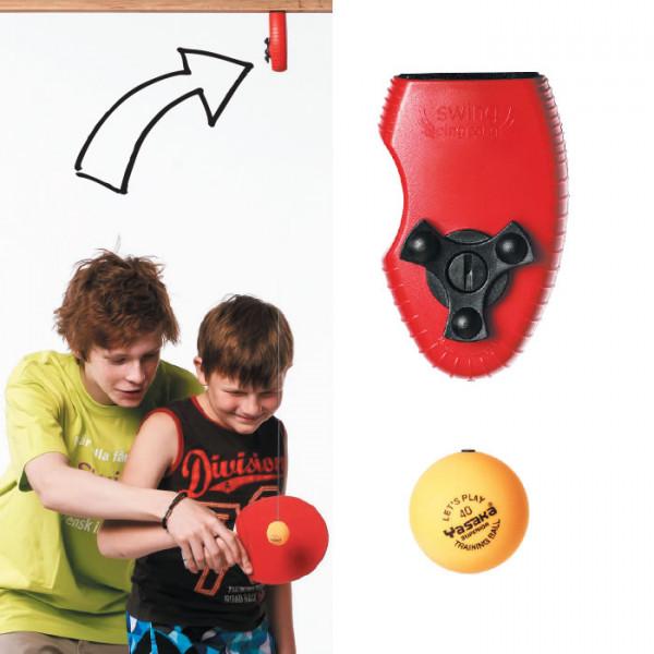 Schwungtrainer: Die aufrollbare Spezialschnur mit Tischtennisball kann am Plafond befestigt werden.