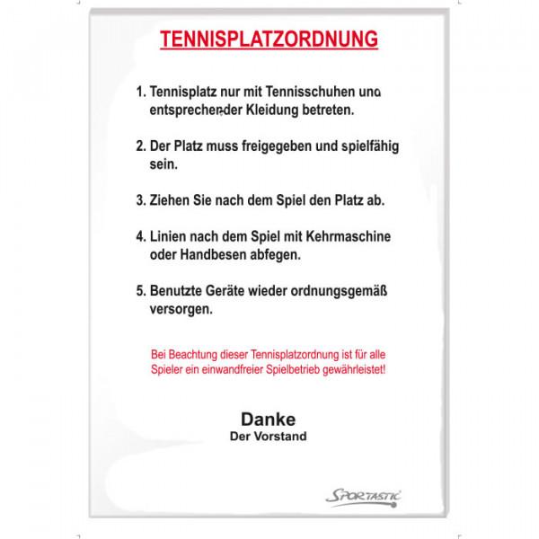 Tafel TENNIS PLATZORDNUNG