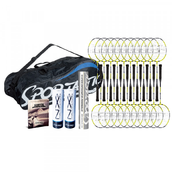 Das hochwertige Badmintonset Upgrade für den engagierten Schul- und Vereinssport. Der Badmintonschläger Upgrade aus einer leichten und flexiblen Aul/Stahl-Konstruktion sorgft für beste Armschonung und gut Schlagweite und ist mit einer Ashaway-Saite besai